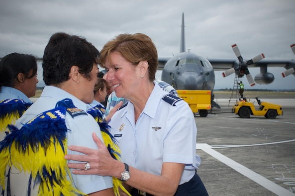 Gen. Lori Robinson, Pacific Air Forces commander, performs a traditional hongi greeting with Royal New Zealand Air Force service members upon her arrival at RNZAF Base Ohakea, New Zealand, March 4, 2016, where she gave remarks at the 75 Years of Women in Service celebration. The visit to RNZAF Base Ohakea was part of Robinson's two-week visit to New Zealand and Australia, which served to improve relations with both nations and reaffirmed PACAF's commitment to the rebalance in the Pacific. (Photo courtesy of RNZAF)