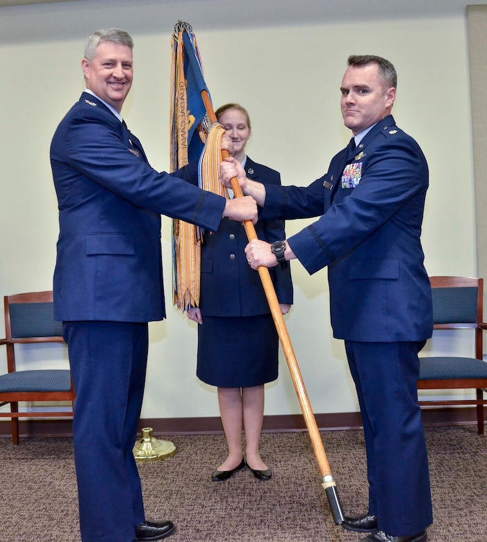 Lt. Col. Mike Metcalf assumes command of the 106th Air Refueling Squadron, April 9, 2016, in Birmingham, Ala. Metcalf transferred into the Air National Guard from active duty in 2004. (Air National Guard photo by Senior Airman Wes Jones/Released)