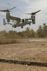 "An MV-22 Osprey, tilt rotor aircraft, lands to insert the Joint Rapid Reaction Force (JRRF) at the Antique Air Field in order to seize a scenario-based objective as part of Exercise Balikatan 2016, in Antique, Philippines, April 11, 2016. The JRRF, compiled of U.S. and Philippine forces, have worked together during the exercise to test their capabilities, maintain a high level of interoperability and to enhance combined combat readiness. Balikatan, which means ""shoulder to shoulder"" in Filipino, is an annual bilateral training exercise aimed at improving the ability of Philippine and U.S. military forces to work together during planning, contingency and humanitarian assistance and disaster relief operations."