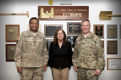 The Honorable Jo-Ellen Darcy, assistant secretary of the Army for civil works, and Lt. Gen. Thomas Bostick, USACE commanding general, visit U.S. Army Corps of Engineers Europe District April 4-7 in Wiesbaden, Germany. Darcy and Bostick engaged partners and employees, and visited project sites around Germany, including: a satellite communications center and separate project for Network Enterprise Technology Command, both at Landstuhl Army Heliport; a new combined U.S. military medical facility on Rhine Ordnance Barracks; a combined intelligence center at Clay Kaserne; and the new Wiesbaden High School project for Department of Defense Education Activity-Europe.