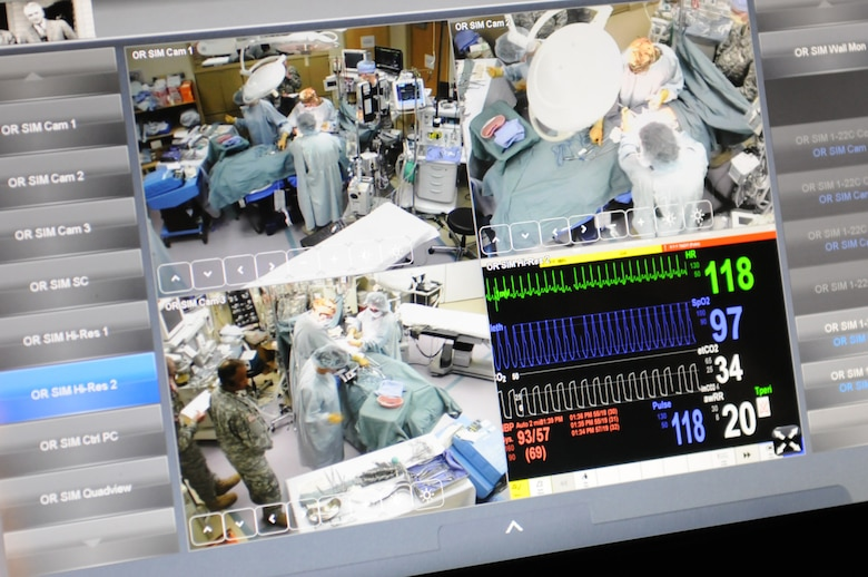 Soldiers of the 399th Combat Support Hospital, 804th Medical Brigade, 3d Medical Command (Deployment Support) out of Fort Devens, Massachusetts, conduct an exercise April 2, 2016 at the Mayo Clinic Multidisciplinary Simulation Center in Rochester, Minnesota. The purpose of the exercise was to practice the Team Strategies and Tools to Enhance Performance and Patient Safety, or TeamSTEPPS, which is a Department of Defense framework to optimize military medical care. During the exercise, observer-controller/trainers used state-of-the-art equipment at the facility to monitor the unit's performance. The equipment gave the OC/Ts a bird's eye view of the Soldiers as they worked and also allowed them to manipulate the scenarios by remotely changing patient vital signs.