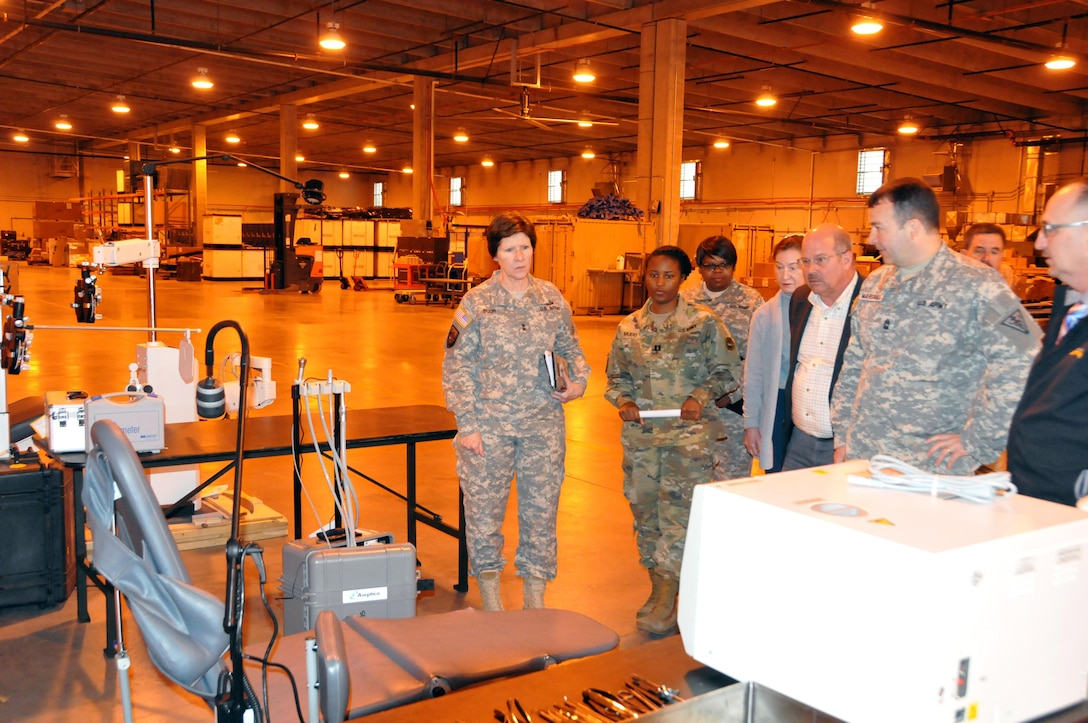 Maj. Gen. Margaret W. Boor, commanding general of the U.S. Army Reserve's 99th Regional Support Command, visits the command's Equipment Concentration Site 99 April 7 at Joint Base McGuire-Dix-Lakehurst, New Jersey. ECS 99 is a 75,000-square-foot, state-of-the-art medical storage and maintenance site that provides a secure, climate-controlled environment in which to store medical, dental, optical and veterinary equipment, and maintain and repair bio-medical equipment, x-ray machines, ventilators and defibrillators in order to support the Innovative Readiness Training program, which provides necessary training to medical and dental personnel across all branches of military service while providing much-needed medical and dental care to underserviced areas in the United States.