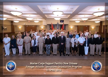 Participants of the spring 2016 Foreign Attaché Operations Orientation Program pose for a group photo at Marine Corps Support Facility New Orleans, April 12, 2016. The participants, representing navies from around the world, attended briefs about the history of Marine Forces Reserve and Marine Forces North in order to promote and encourage closer cooperation between U.S. forces and the military forces of guest nations. (U.S. Marine Corps photo by Sgt. Bobby Gonzalez/Released)