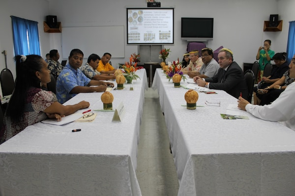 Assistant Secretary of State for East Asian and Pacific Affairs Kurt Campbell, joined by Assistant Administrator Biswal, holds a roundtable discussion with environmental non-government organization (NGO) leaders from Micronesia Conservation Trust, the Nature Conservancy, Conservation Society of Pohnpei, and the Island Food Community of Pohnpei in Palikir, Pohnpei, on July 1, 2011. The conversation highlights NGO efforts to promote conservation at the local and regional levels, challenges faced by low-lying remote atolls, and tools and support available for effective conservation efforts. Participants include Pohnpei State Governor John Ehsa and U.S. Ambassador to the Federated States of Micronesia Peter A. Prahar. [State Department photo/ Public Domain]