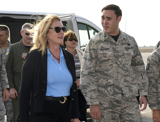 First Lt. Jose Marreo, the 612th Air Base Squadron flight commander, informs Air Force Secretary Deborah Lee James the support his unit provides to Soto Cano Air Base, Honduras, April 8, 2016. Marreo is a native of Puerto Rico and currently oversees the logistics flight, which provides support to transient aircraft, airfield logistics, vehicle maintenance, and fuel services. (U.S. Army photo/Martin Chahin)