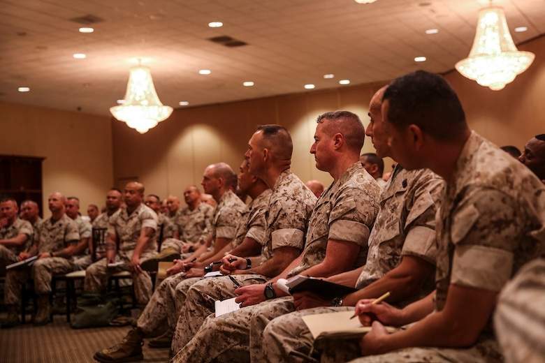 MARINE CORPS BASE CAMP PENDLETON, Calif. – Senior enlisted Marines and sailors listen to retired Gen. Peter Pace, former Chairman of the Joint Chiefs of Staff, during an E-9 symposium at Camp Pendleton April 8, 2016. Pace was the guest speaker for the event, and led participants on a guided discussion. Armed with fresh ideas, these enlightened Marines and sailors can return to their commands better prepared to lead, mentor and develop the next generation of professional warfighters. (U.S. Marine Corps photo by Sgt. Emmanuel Ramos/Released)
