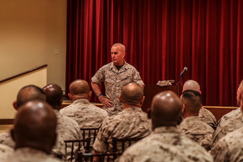 MARINE CORPS BASE CAMP PENDLETON, Calif. – Sgt. Maj. Bradley Kasal, sergeant major, I Marine Expeditionary Force, addresses a room of senior enlisted Marines and sailors during an E-9 symposium at Camp Pendleton April 8, 2016. During the conference participants discussed topics consisting of leadership development, troop welfare, and obstacles the Corps is facing. (U.S. Marine Corps photo by Sgt. Emmanuel Ramos/Released)