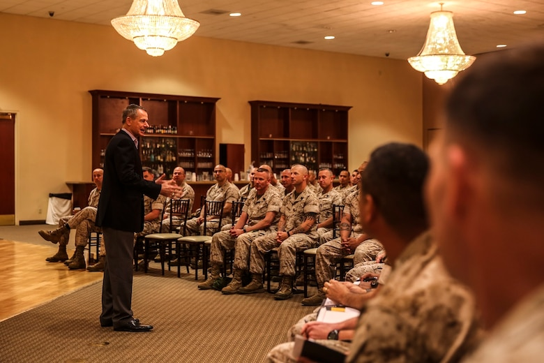 MARINE CORPS BASE CAMP PENDLETON, Calif. – Retired Gen. Peter Pace, former Chairman of the Joint Chiefs of Staff, addresses a room of senior enlisted Marines and sailors during an E-9 symposium at Camp Pendleton April 8, 2016. Pace was the guest speaker for the event and led participants on a guided discussion. During the conference, Marines broke into groups with each one discussing ethics, leadership development and styles, and ways to improve unit readiness. (U.S. Marine Corps photo by Sgt. Emmanuel Ramos/Released)