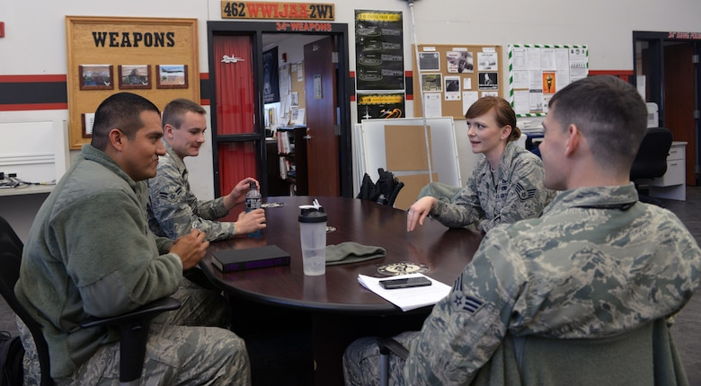 Staff Sgt. Shannon Olson, 28th Bomb Wing chaplain assistant, chats with Airmen from the 28th Aircraft Maintenance Squadron at Ellsworth Air Force Base, S.D., March 30, 2016. Because some Airmen are skeptical to talk with the chaplain due to rank, the chaplain's assistant acts as a liaison between the two to bridge the gap. (U.S. Air Force photo by Airman Donald C. Knechtel/Released)