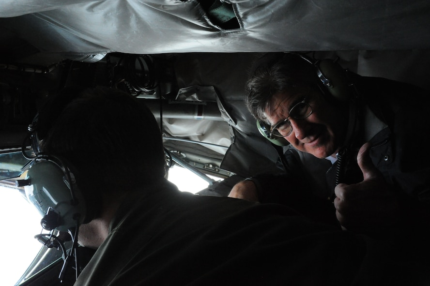 Robert Barber, U.S. Ambassador to the Republic of Iceland, shows his approval of Icelandic Air Surveillance operations while flying with the 916th Air Refueling Wing, Air Force Reserve Command, Seymour Johnson, N.C., over Iceland, April 9, 2016. Barber observed refueling operations from the boom pod of the KC-135 and spoke to Airmen about Iceland's appreciation in conducting the IAS mission ensuring security for the United States and NATO.  (U.S. Air Force photo by Master Sgt. Kevin Nichols/Released)