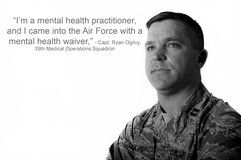 U.S. Air Force Capt. Ryan Ogilvy, 39th Medical Operations Squadron mental health practitioner, reflects on his career and how he joined the Air Force. Ogilvy, along with his flight, are responsible for assisting Airmen with mental health concerns. (U.S. Air Force photo illustration by Staff Sgt. Jack Sanders/Released)