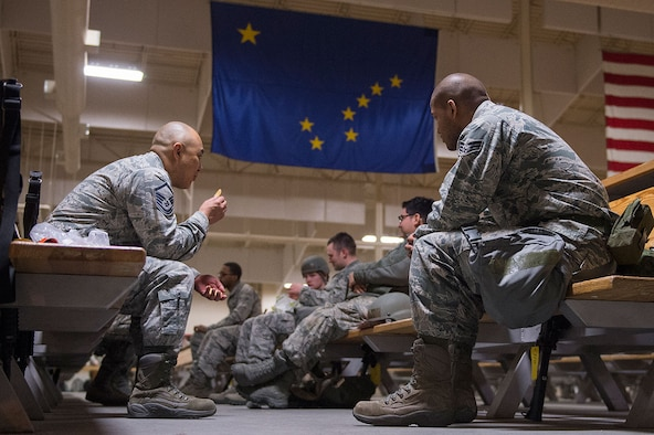 U.S. Air Force Airmen from Joint Base Elmendorf-Richardson exercise a mock deployment preparation, April 7, 2016.  JBER is host to air, space, and cyberspace systems which may be deployed or employed to support and defend the U.S. interests and those of our allies.  (U.S. Air Force photo by Senior Airman James Richardson)