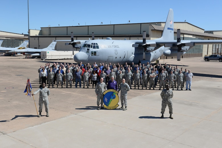 Leadership and instructors for the 365th Training Squadron pose in front of a C-130 on the ground instruction training aircraft ramp at Sheppard Air Force Base, Texas, March 25, 2016. The 365th TRS received the 2016 Training Squadron of the Year award from Brig. Gen. Patrick Doherty, 82nd Training Wing commander.