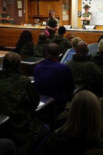 Capt. Timothy Peltz, Company Commander of Recruit Processing Company, speaks with educators from the greater Montgomery and Jacksonville areas about the beginning of recruit training aboard Marine Corps Recruit Depot Parris Island, S.C., April 13, 2016. The teachers, coaches, and principals of Recruiting Stations Jacksonville and Montgomery participate in a three-day workshop designed to inform educators about military service and life in the Marine Corps. (Official Marine Corps photo Cpl. John-Paul Imbody)
