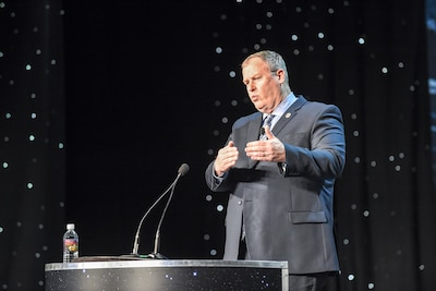 Deputy Defense Secretary Bob Work delivers remarks at the 32nd Space Symposium in Colorado Springs, Colo., April 12, 2016. DoD photo by Army Sgt. 1st Class Clydell Kinchen