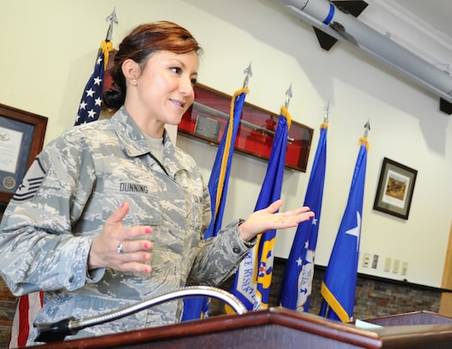 Master Sgt. Martha Dunning, AFNORTH standards and evaluations manager, briefs AFNORTH members April 4 at the Killey Center for Homeland Operations. Dunning is the units Combined Enlisted Association president. She has served as the manager of the 601st Air Operations Center Color Guard Team and as a member of the Tyndall Honor Guard Team.