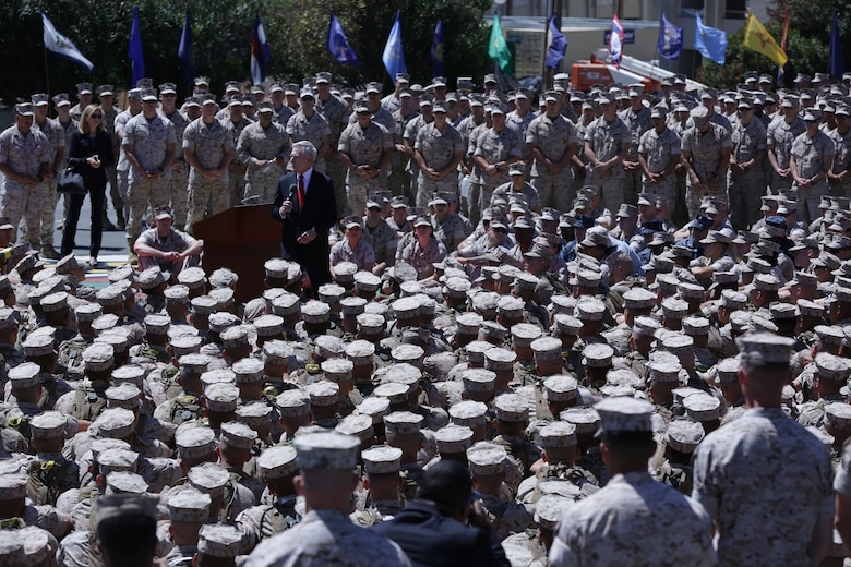 Secretary of the Navy, the Honorable Ray Mabus, speaks with a mix of entry-level Marine students from the School of Infantry-West and mid-career enlisted leaders studying at the Staff Noncommissioned Officers Academy aboard Marine Corps Base Camp Pendleton, Calif., about opening all occupational specialties to qualified Marines of either gender April 12, 2016.