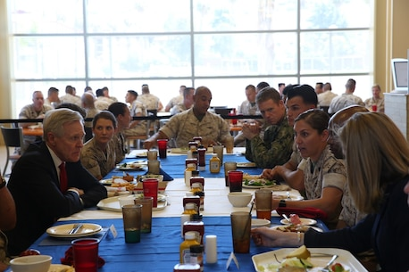 MARINE CORPS BASE CAMP PENDLETON, Calif. – Secretary of the Navy, the Honorable Mr. Ray Mabus, left, sits with Marines for a luncheon during a visit to Camp Pendleton April 12, 2016. Mabus visited Marines and sailors to discuss his intent and expectations for gender integration within combat roles across the Navy and Marine Corps. Informed by over 14 years of conflict, the Marine Corps will move forward with full integration while continuing to maintain its high standards. (U.S. Marine Corps Photo By: Cpl. Garrett White/Released)