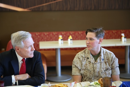 MARINE CORPS BASE CAMP PENDLETON, Calif. – Sergeant Megan Little, a small arms repair technician with 3rd Assault Amphibian Battalion, right, talks with Secretary of the Navy, the Honorable Mr. Ray Mabus, during a luncheon at Camp Pendleton April 12, 2016. Mabus visited Marines and sailors to discuss his intent and expectations for gender integration within combat roles across the Navy and Marine Corps. Opportunities will continue to be based on individual merit and performance, but gender is no longer a consideration in any Marine's opportunity to serve in every job field. (U.S. Marine Corps Photo By: Cpl. Garrett White/Released)