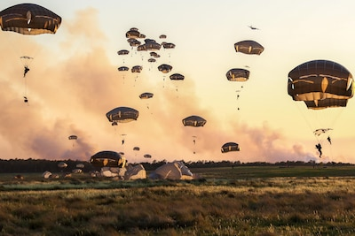 Army paratroopers conduct a joint forcible entry operation during a field training exercise