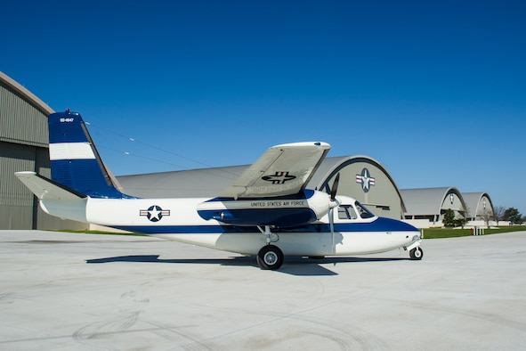 DAYTON, Ohio -- The Aero Commander U-4B at the National Museum of the United States Air Force on April 12, 2016. This aircraft is one of ten Presidential aircraft in the collection. (U.S. Air Force photo by Ken LaRock)