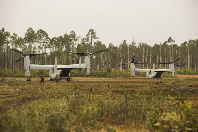 Marines with 2nd Battalion, 8th Marine Regiment form defensive strategies after disembarking from two V-22 Ospreys during a platoon attack training event at Camp Lejeune, N.C., April 12, 2016. The unit conducts this training multiple times a month to maintain tactical maneuverability expertise for upcoming deployments.