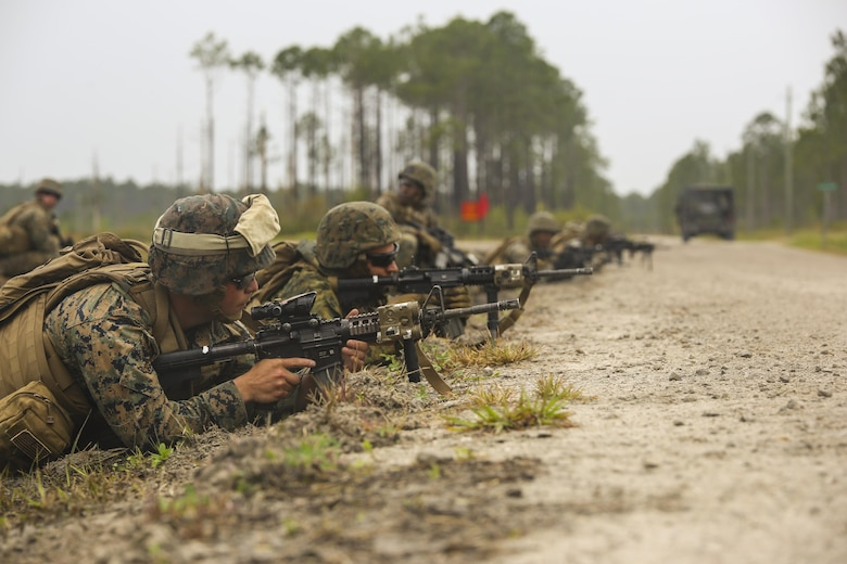 Marines with 2nd Battalion, 8th Marine Regiment provide security before crossing a road during a platoon attack training event at Camp Lejeune, N.C., April 12, 2016. The training allowed the unit to make tactical decisions that successfully destroyed notional enemy targets.