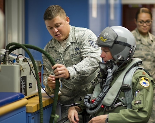 Staff Sgt. Michael Stanforth, 325th Operations Support Squadron/43rd Fighter Squadron Aircrew Flight Equipment floor chief, assists Maj. Adam Keith, 43rd FS Deputy Operations officer, in testing his flight equipment for leaks April 7, at the 43rd FS. Stanforth was selected as this week's Unsung Hero by his leadership. (U.S. Air Force photo by Senior Airman Alex Fox Echols III/Released)