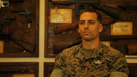Staff Sgt. Jarret Garibaldi, an explosive ordnance disposal technician with EOD Company, 9th Engineer Support Battalion, 3rd Marine Logistics Group, III Marine Expeditionary Force, gives information on the upcoming Korea Explosive Ordnance Disposal Exercise 16.