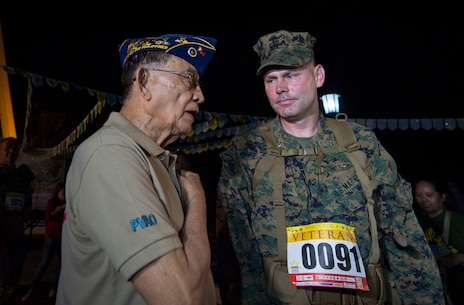 "His Excellency Fidel V. Ramos, former president of the Republic of the Philippines, talks with U.S. Marine Col. J.C. Lewis, commanding officer 12th Marine Regiment, 3rd Marine Division, III Marine Expeditionary Force before the Capas Freedom March during Balikatan 16 at Capas, Philippines, April 11, 2016. U.S. and Philippine service members participated in the 2nd annual Capas Freedom March with the theme ""March for a Veteran"" where each participant marched to honor a veteran of their choice. Balikatan is an annual Philippine-U.S. military bilateral training exercise that is a signature element of the Philippine-U.S. alliance focused on a variety of missions to include humanitarian assistance maritime law enforcement, and environment protection."