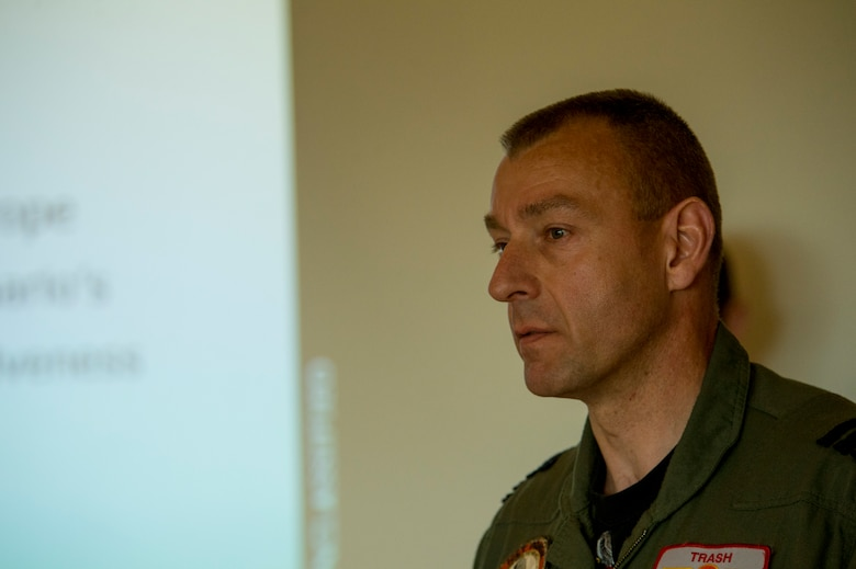 Royal Netherlands Air Force Col. Denny Traas, Leeuwarden Air Base commander, speaks to members of the press during the kickoff of Frisian Flag 2016 at Leeuwarden Air Base, Netherlands, April 12, 2016. More than 70 aircraft and personnel from the United States, Netherlands, Belgium, France, Finland, Poland, Norway, United Kingdom, Germany and Australia will participate in Frisian Flag 2016 at Leeuwarden April 11-22, 2016, with as many as 50 executing flight operations each day. (U.S. Air Force photo by Staff Sgt. Joe W. McFadden/Released)