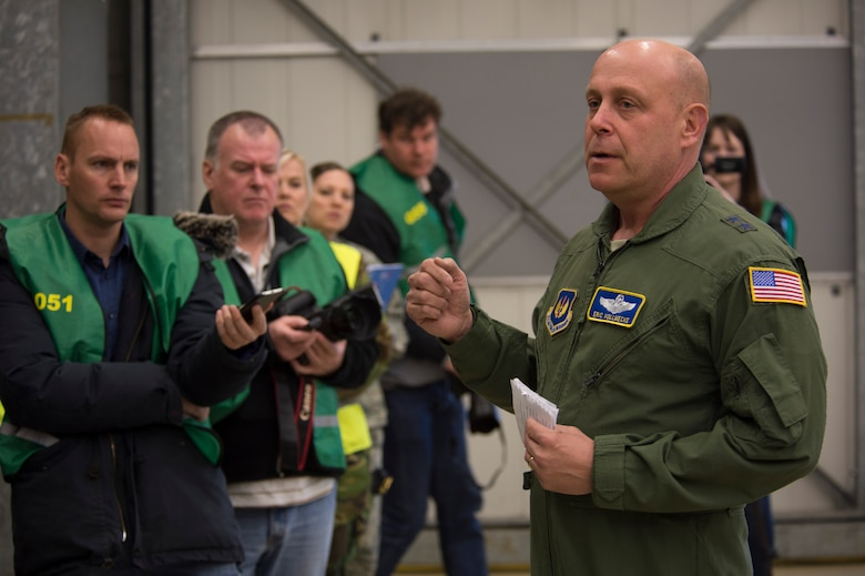 U.S. Air Force Maj. Gen. Eric Vollmecke, Air National Guard mobilization assistant to the U.S. Air Forces in Europe – Air Forces Africa commander, center right, speaks to members of the press during a theater security package deployment at Leeuwarden Air Base, Netherlands, April 12, 2016. The U.S. Air Force and other services have increased their rotational presence in Europe to reassure allies and partner nations about the U.S.'s commitment to European security and stability. (U.S. Air Force photo by Staff Sgt. Joe W. McFadden/Released)