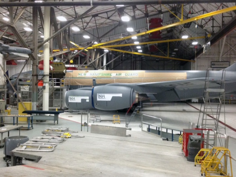 New Hampshire Air National Guard KC-135R Stratotanker 57-1430 as seen at Pease Air National Guard Base, N.H., Oct. 7, 2015.  All preparations are completed and the aircraft is ready for paint.  (U.S. Air National Guard photo by Staff Sgt. Andrew Morrision)
