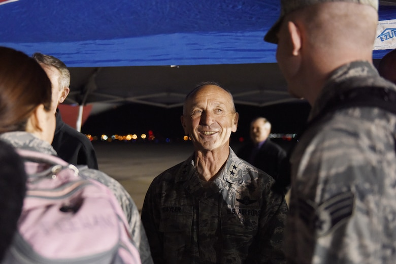Airmen from the Idaho Air National Guard's 124th Fighter Wing say farewell to family, friends and distinguished visitors on the flight line at Gowen Field in preparation for deployment April 12, 2016. Maj. Gen. Gary Sayler, Idaho's Commanding General, wishes Airmen a farewell as they depart Tuesday evening. Most of the deploying Guard members will be in the Middle East supporting Operation Inherent Resolve. (U.S. Air National Guard photo by Master Sgt. Becky Vanshur/Released)