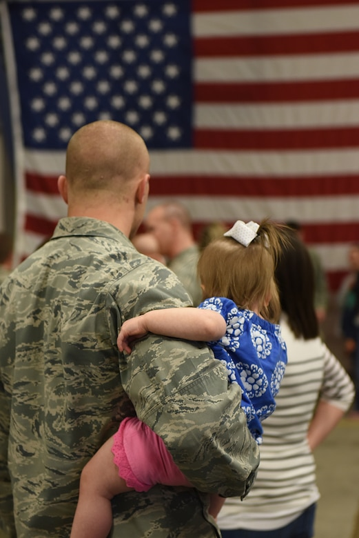 Airmen from the Idaho Air National Guard took a moment and waved farewell to family and friends as they deployed on Tuesday evening, April 12, 2016 to join in combat operations in the Middle East. (U.S. Air National Guard photo by Master Sgt. Becky Vanshur/Released)