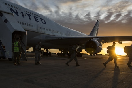 U.S. Marines with the 1st Battalion, 1st Marine Regiment, arrive in Darwin, Australia to begin preparation for exercise Marine Rotational Force-Darwin (MRF-D) on April 13, 2016. MRF-D was a six-month deployment of Marines into Darwin, Australia, where they conducted exercises and trained with the Australian Defence Forces, strengthening the U.S.-Australia alliance. (U. S. Marine Corps Photo by Lance Cpl. Osvaldo L. Ortega III)