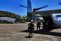 "U.S. Marine Corps MV-22 Ospreys with  Marine Medium Tilt-rotor squadron 262 transport Philippines, Austrailian and U.S. service members to Cagayancillo to participate in a cooperative health engagement during exercise Balikatan in the Philippines April 10, 2016.  Balikatan, which means ""shoulder to shoulder"" in Filipino, is an annual bilateral training exercise focused on improving the ability of Philippine and U.S. military forces to work together during planning, contingency and humanitarian assistance and disaster relief operations."