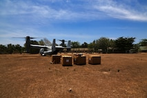 "U.S. Marine Corps MV-22 Ospreys with VMM-262 transport Philippines, Austrailian and U.S. service members to Cagayancillo to participate in a cooperative health engagement during exercise Balikatan in the Philippines April 10, 2016.  Balikatan, which means ""shoulder to shoulder"" in Filipino, is an annual bilateral training exercise focused on improving the ability of Philippine and U.S. military forces to work together during planning, contingency and humanitarian assistance and disaster relief operations."