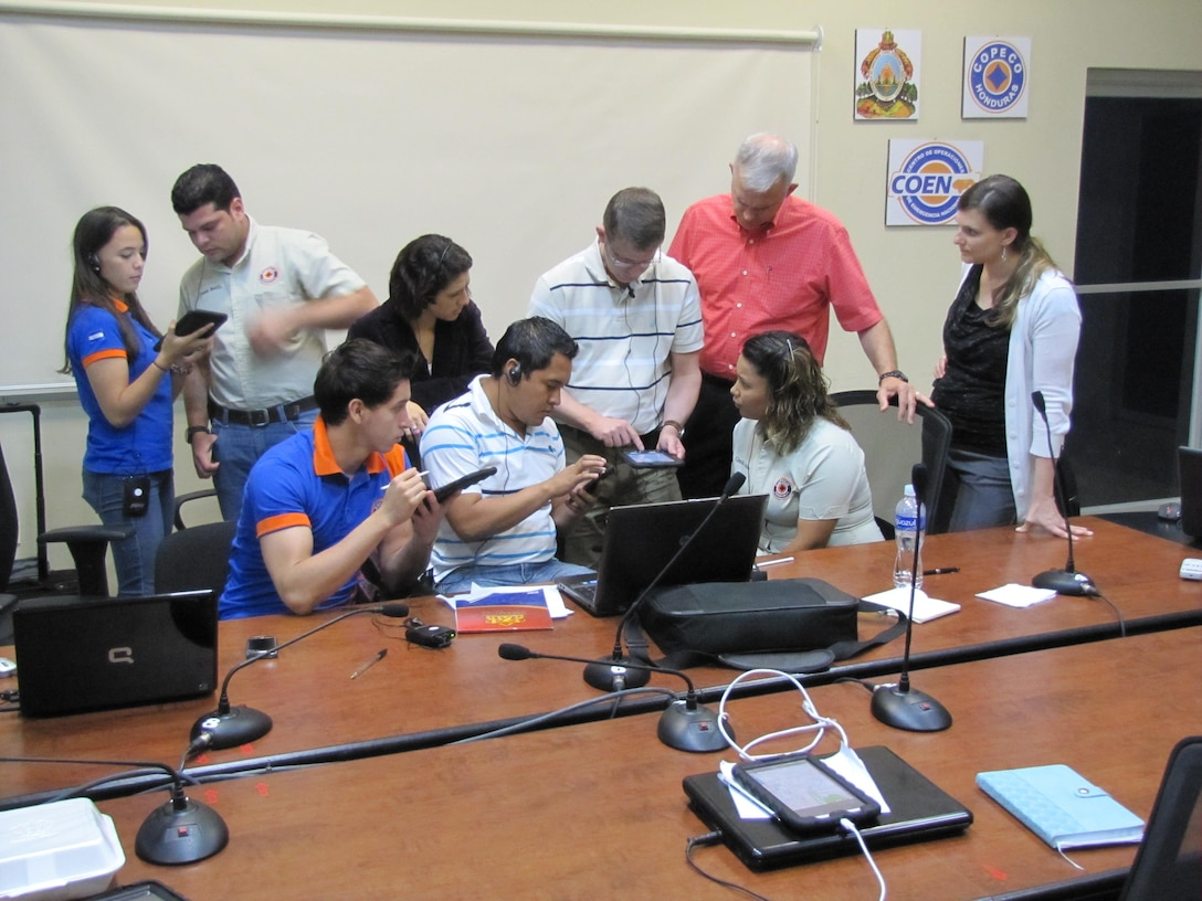Emergency operations center personnel learn to use the GeoSHAPE mobile application.