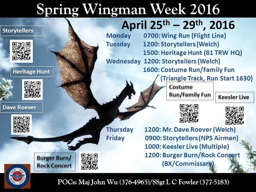 Wingman Week schedule