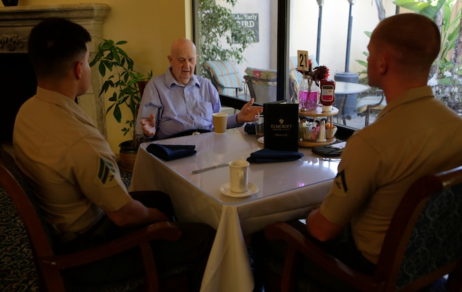 CAMP PENDLETON, Calif. -- Marines from Camp Pendleton's Single Marine Program visit residents of the Rancho Vista Retirement Home, April 12, 2016.SMP is a program designed to enhance the quality of life of single Marines and Sailors by providing the opportunities for recreation, community involvement and social functions. (Marine Corps Photo by Lance Cpl. Emmanuel Necoechea/Released)