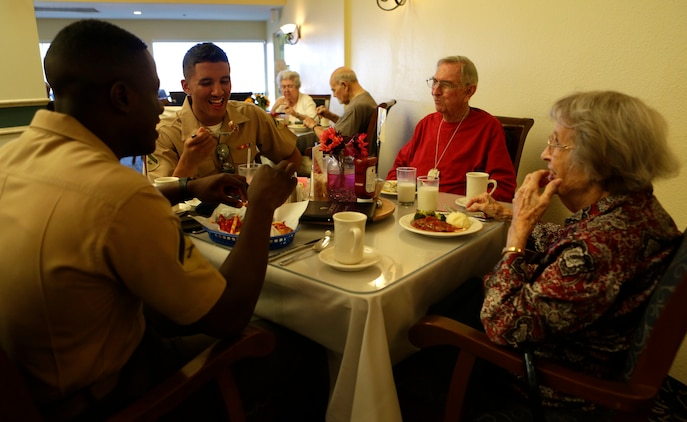 CAMP PENDLETON, Calif. -- Marines from Camp Pendleton's Single Marine Program visit residents of the Rancho Vista Retirement Home, April 12, 2016. SMP is a program designed to enhance the quality of life of single Marines and Sailors by providing the opportunities for recreation, community involvement and social functions. (Marine Photo by Lance Cpl. Emmanuel Necoechea/Released)