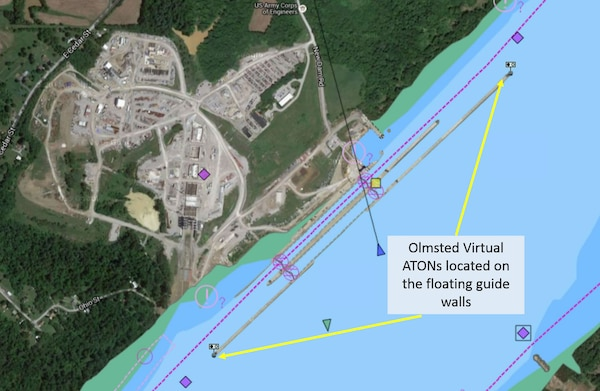 Electronic navigation charts display virtual buoys on the Olmsted Locks and Dam floating guide walls.  These markers are the first wave in a project to improve safety and efficiency of maritime operations.