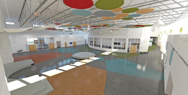 Adaptable open spaces and a flexible stage, which can be used for theater-in-the-round performances were incorporated into the school to promote a versatile learning environment.