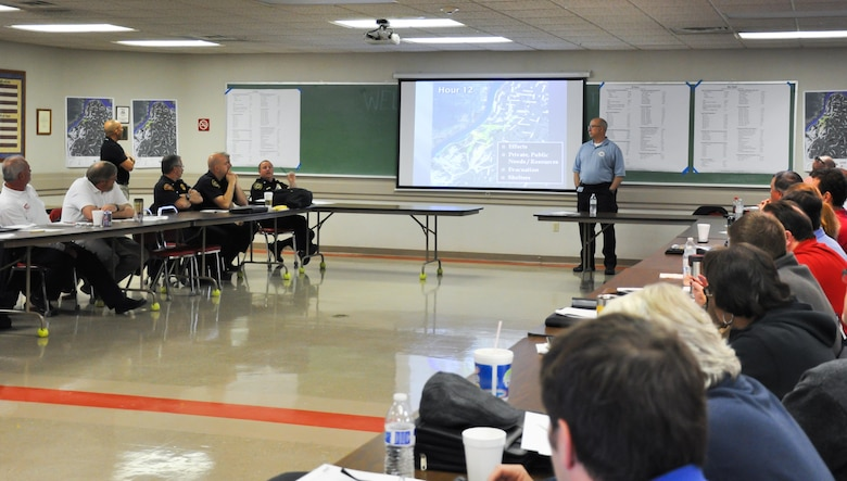 Representatives from federal, state, local and private sector entities gathered March 29 for an exercise that simulated a levee breach in Louisville, Ky. The event was planned and hosted by Louisville Metropolitan Sewer District, the agency responsible for operation and maintenance of the levee, floodwall, pump stations and closures associated with the levee system.