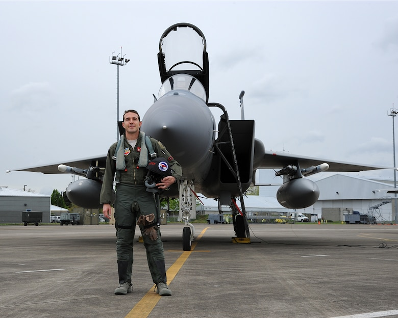U.S. Air Force Lt. Col. Nicholas Rutgers, assigned to the 142nd Fighter Wing, will fly to France this month to take part in the 100th Anniversary of the Lafayette Escadrille, a squadron of American volunteers in which his great-father, James Normal Hall, was a member. (U.S. Air National Guard photo by Master Sgt. Shelly Davison, 142nd Fighter Wing Public Affairs)