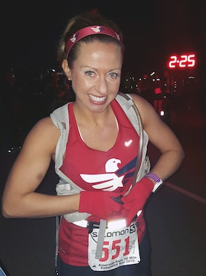 Master Sgt. Krystalore Stegner, the recruiting and rentention manger for the 107th Airlift Wing at Niagara Falls Air Reserve Station, N.Y., competes in her first 50 mile ultra-marathon at Folsom Lake, California, April 2, 2016. Out of 65 international applicants, Stegner was chosen as one of two people to receive training from champion ultra-marathon runners for six months leading up to the race, which is featured as part of the Becoming Ultra Project. (Photos courtesy of Master Sgt. Krystalore Stegner)