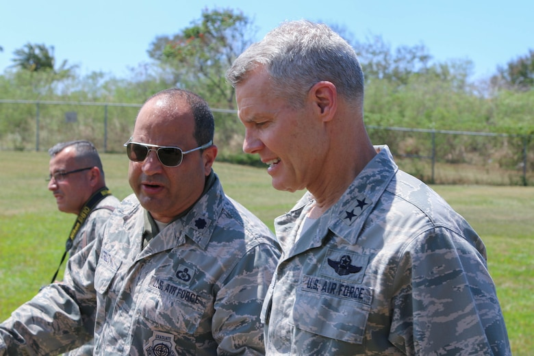 U.S. Air Force Acting Director, Air National Guard, Maj. Gen. Brian G. Neal, right, receives a tour of the 141st Air Control Squadron, Punta Borinquen Radar Site, Aguadilla, Puerto Rico by the Lt. Col. Ramon O. Cruz, left commander of the 141st ACS. Neal attended briefings, toured facilities and observed operations at the 141st ACS and the 156th Airlift Wing, Muñiz Air National Guard Base, Carolina, Puerto Rico. (U.S. Army  National Guard photo by Sgt. Alexis Velez)