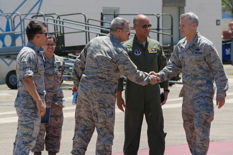 U.S. Air Force Acting Director, Air National Guard, Maj. Gen. Brian G. Neal, greets airmen of the Puerto Rico Air National Guard during his April 9 visit to the 156th Airlift Wing, Muñiz Air National Guard Base, Carolina, Puerto Rico. Neal attended briefings and toured facilities at the 156th AW and the 141st Air Control Squadron, Punta Borinquen Radar Site, Aguadilla, Puerto Rico. (U.S. Army  National Guard photo by Sgt. Alexis Velez)