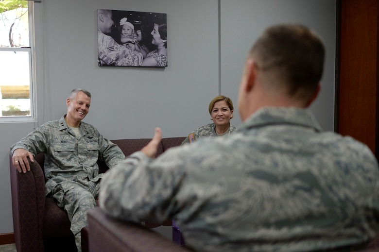 U.S. Air Force Acting Director, Air National Guard, Maj. Gen. Brian G. Neal, left, is welcomed by 156th Airlift Wing Commander, Lt. Col. Edward L. Vaughan, center, and the Adjutant General of the Puerto Rico National Guard, Maj. Gen. Marta Carcana during his April 9 visit to the 156th AW, Muñiz Air National Guard Base, Carolina, Puerto Rico. Neal attended briefings and toured facilities at the 156th AW and the 141st Air Control Squadron, Punta Borinquen Radar Site, Aguadilla, Puerto Rico. (U.S. Air  National Guard photo by Staff Sgt. Christian Jadot)